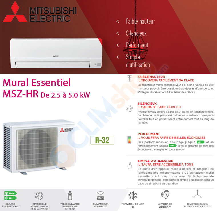 Nouvelle gamme de climatiseurs MSZ-HR de Mitsubishi Electric au gaz R32