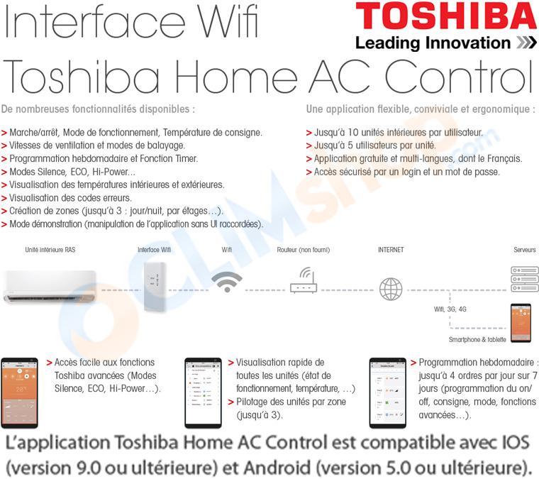 Interface wifi pour pilotage outdoor de vos appareils de climatisation Toshiba