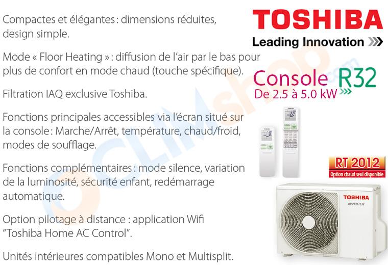 Nouvelle console Toshiba double Flux R32 U2FVG