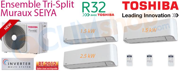 Fiche descriptive ensemble Toshiba Trisplit  RAS-3M18U2AVGE, 2x RAS-B05J2KVGE et RAS-B10J2KVGE