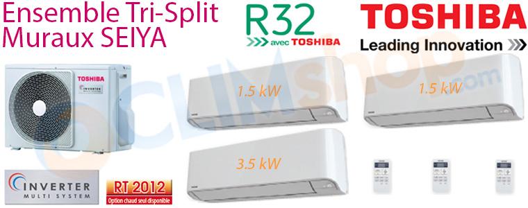 Tri split Toshiba RAS-3M26U2AVG-E + 2x  RAS-B07J2KVG-E + 1x  RAS-B13J2KVG-E
