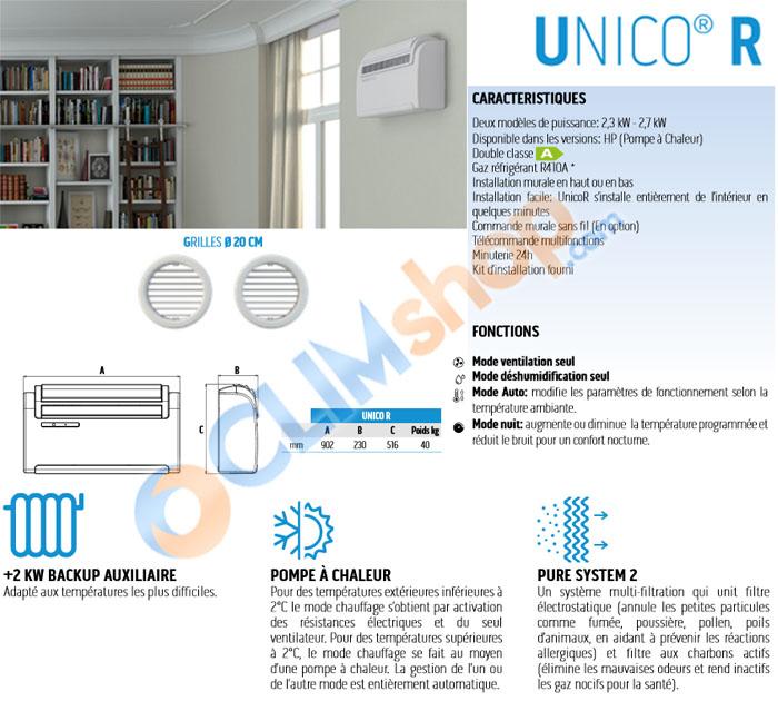 Présentation climatiseur réversible sans unité extérieure UNICO R 10HP et 12HP