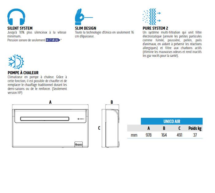 Présentation climatiseur sans unité extérieure UNICO AIR 8SF ET 8HP