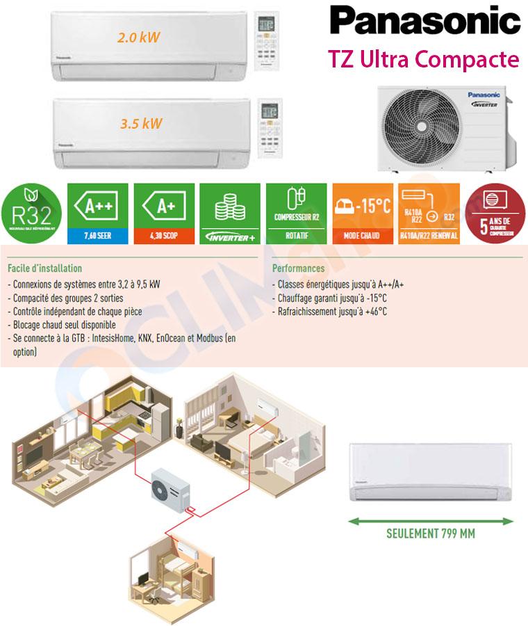 Panasonic configuration bisplit inverter CU-2TZ50TBE + CS-TZ20WKEW + CS-TZ35WKEW