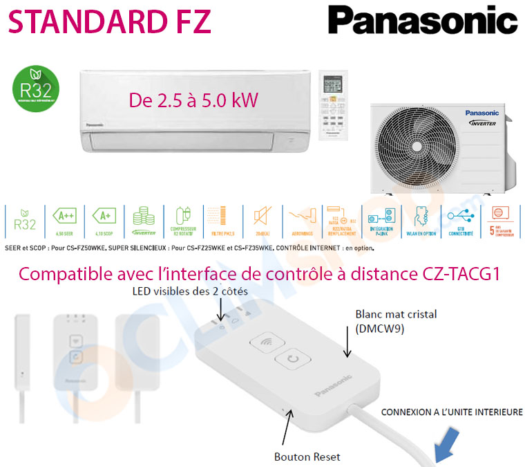 Présentation monosplit R32 Panasonic Standard PZ CS-FZ25WKE
