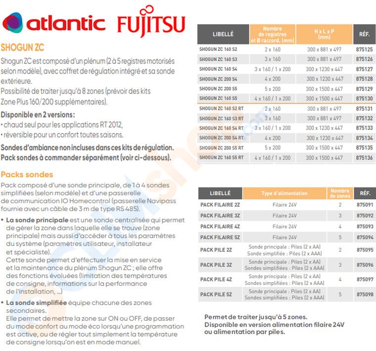 Zone control 2.0 Atlantic Fujitsu pour régulation de système gainable résidentiel