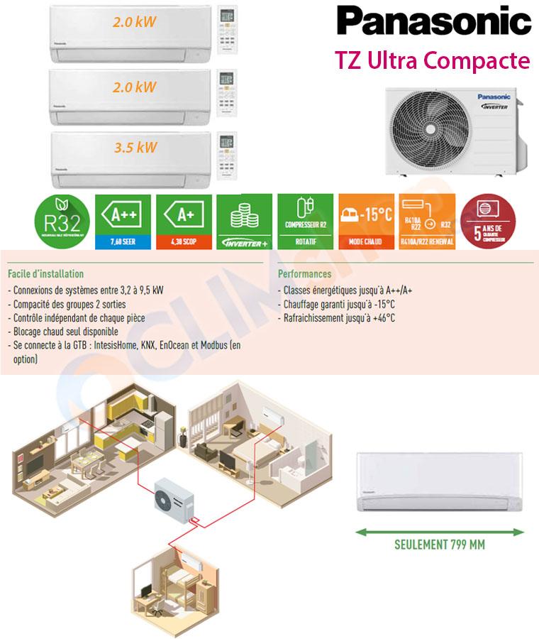 Ensemble trisplit inverter CU-3TZ52TBE + 2x CS-TZ20WKEW + CS-TZ35WKEW Panasonic R32