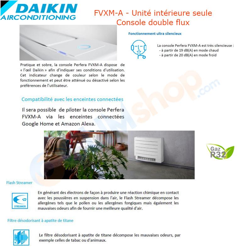 Présentation des consoles seules FVXM-A compatibles avec les groupes extérieurs multisplit fonctionnant au gaz R32 de la marque Daikin