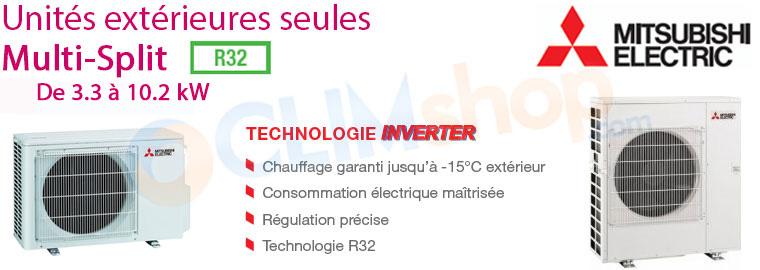 Unités extérieures pour configuration multisplit Mitsubishi MXZ-2F33VF - MXZ-2F42VF - MXZ-2F53VF - MXZ-3F54VF - MXZ-3F68VF - MXZ-4F72VF compresseur R32