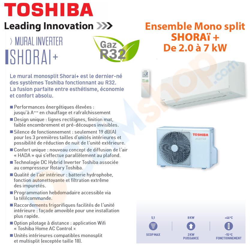 Présentation de la gamme SHORAÏ + de Toshiba, climatisation murales au R32