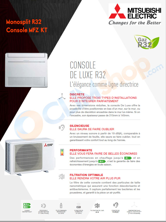 Présentation Console R32 MFZ-KT mono-split Mitsubishi Electric