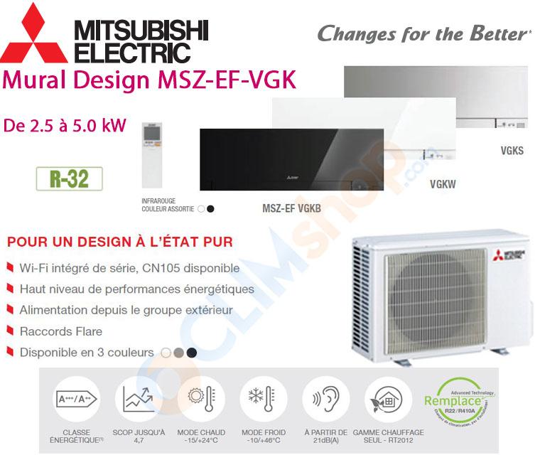 Présentation gamme split Mitsubishi EF-VGK R32