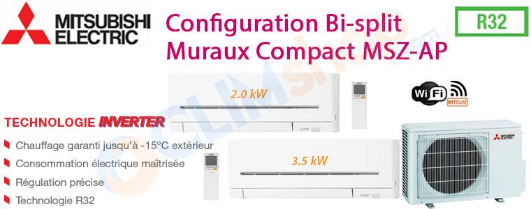 Pack Bi-split réversible MXZ-2F33VF MSZ-AP20VGK MSZ-AP35VGK Mitsubishi electric