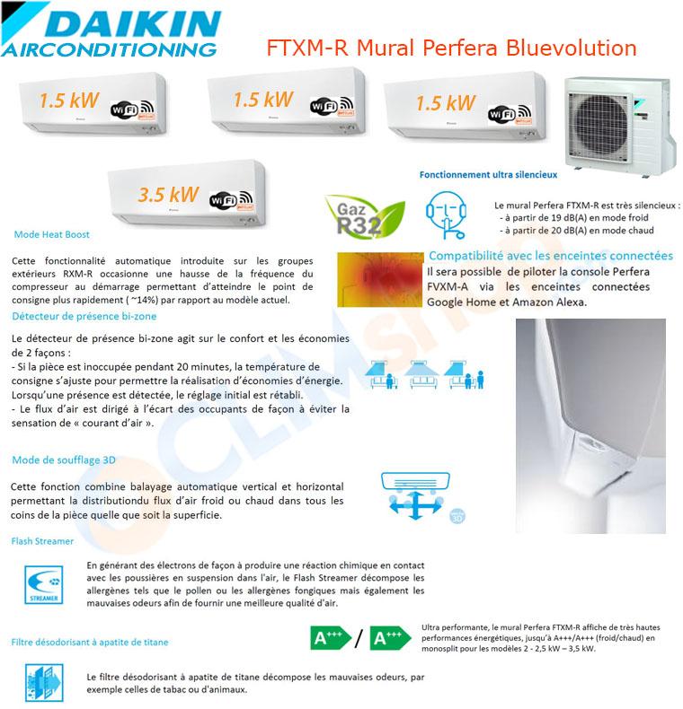 Présentation de la gamme mult split Daikin Bluevolution R32. Configuration Quadri-split 4mxm68n + 3x ctxm15r + 1 ftxm35r