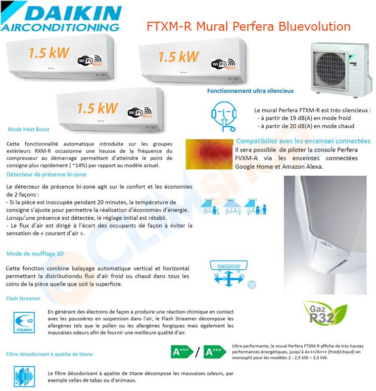 Présentation de la gamme mult split Daikin Bluevolution R32. Configuration Tri-split 3mxm40n + 3 ctcm15r