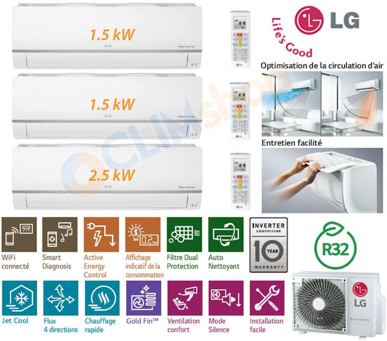 Pack Tri-Split LG MU3R19 UE0 au gaz R32 avec unités murales Standard WI-FI