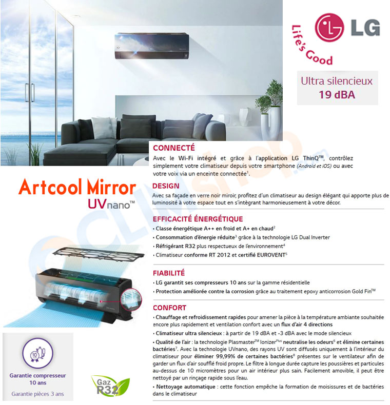 Présentation du mono split Artcool Mirror R32 LG