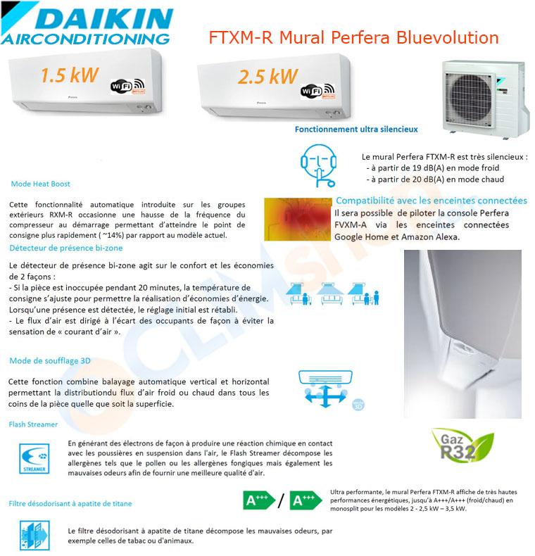 Présentation de la gamme mult split Daikin Bluevolution R32. Configuration Bi-split 2mxm40N + ctcm15r + ftxm25r