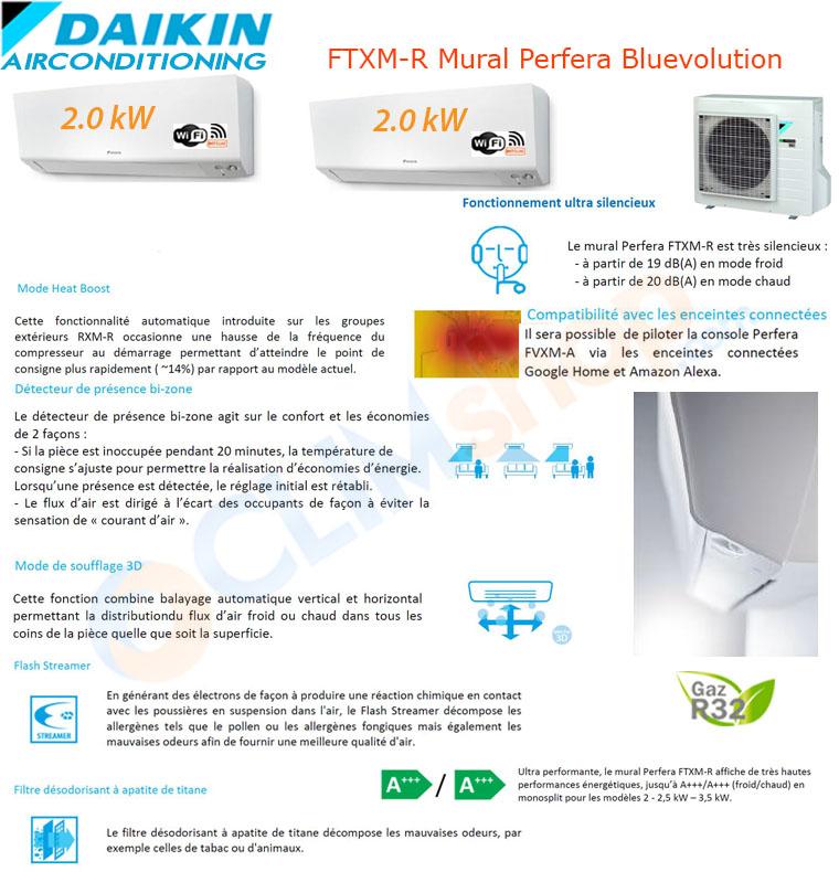 Présentation de la gamme mult split Daikin Bluevolution R32. Configuration Bi-split 2mxm40m + 2x ftxm20n