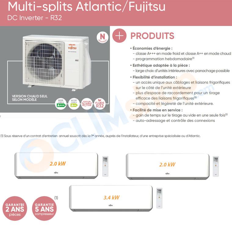 Présentation  Fujitsu Atlantic AOYG 24 KBTA3.UE + ASYG 7 KMTB.UI + ASYG 12 KMTB.UI