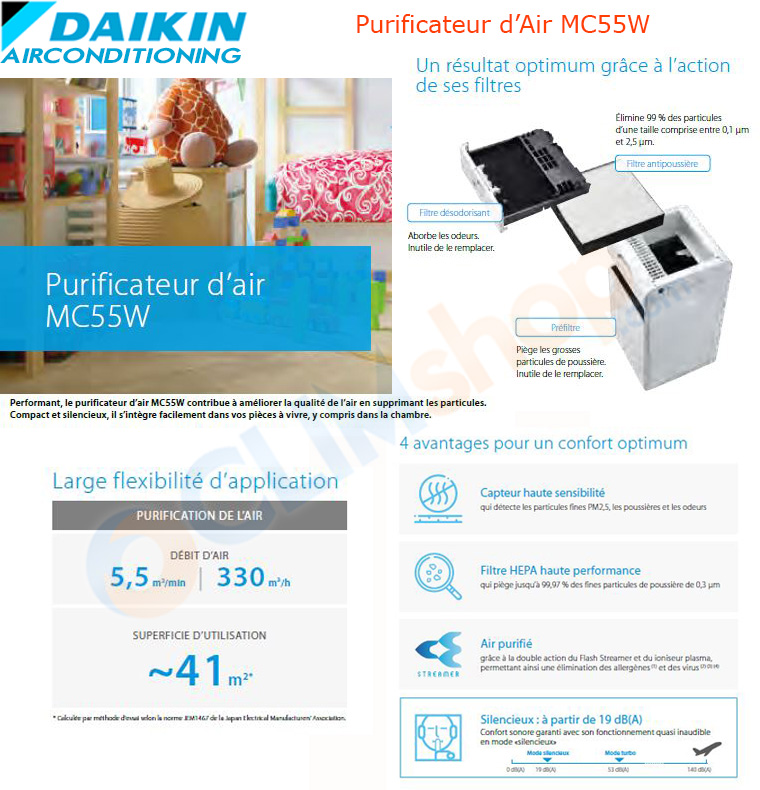 Description daikin purificateur d'air mc55w