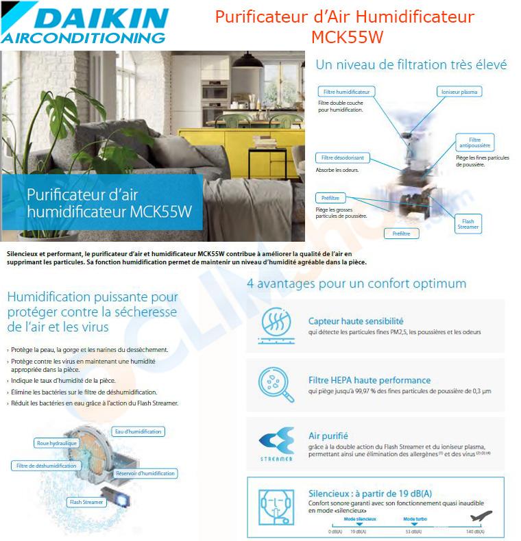 Description daikin purificateur d'air mck55w