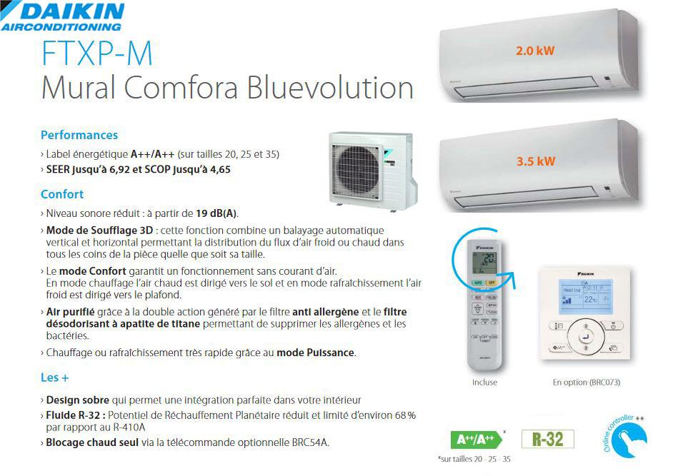 Descriptif Daikin Comfora Bi-split 2mxm50n +  ftxp20m +ftxp35m