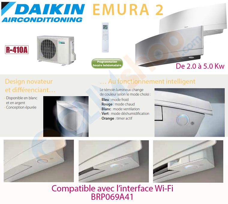 climatisation daikin emura 2 ftxg 20 lw s 25 lw s 35 lw s 50 lw s au gaz r410a. Black Bedroom Furniture Sets. Home Design Ideas