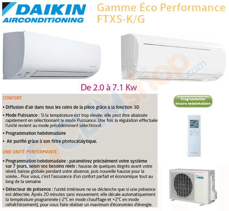 Présentation Mono-split Gamme Eco Performance Daikin FTXS-K/G
