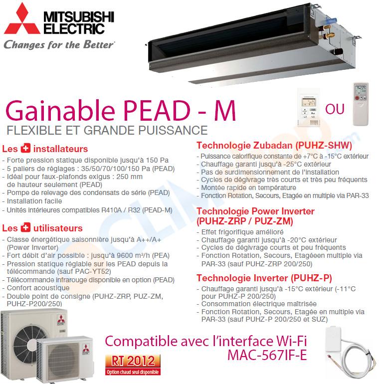 Présentation de la gamme de climatiseurs gainable Mitsubishi PEAD-M
