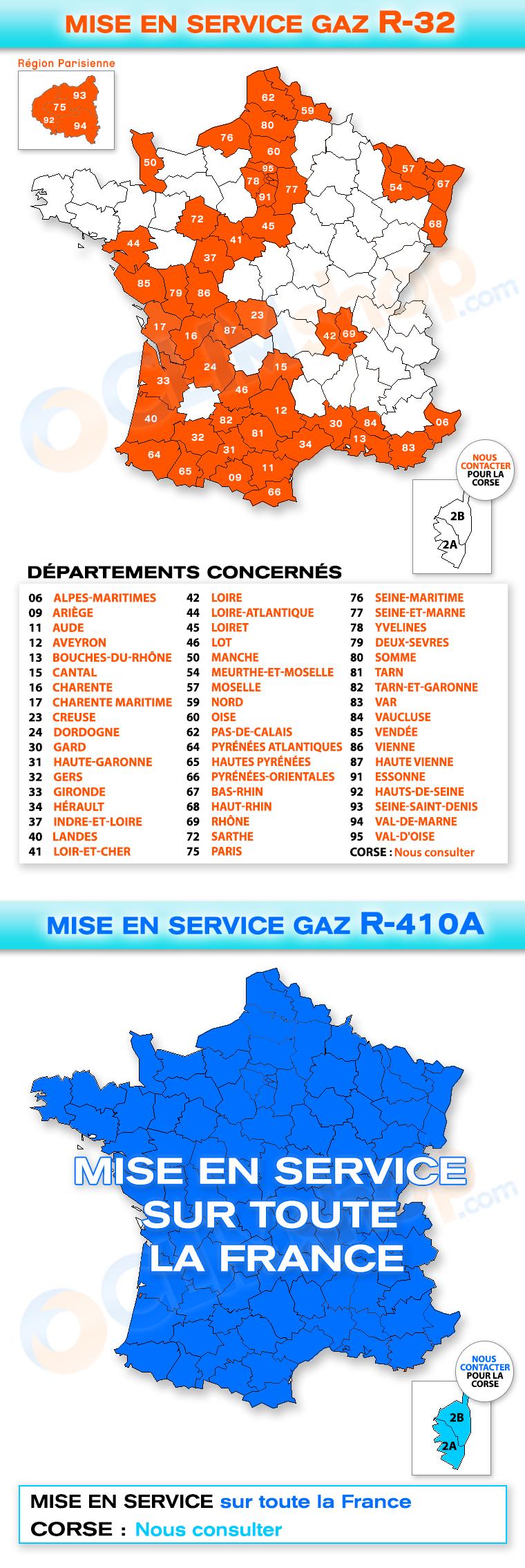 Carte de France pour mise en service climatisation au gaz R32 et R410A
