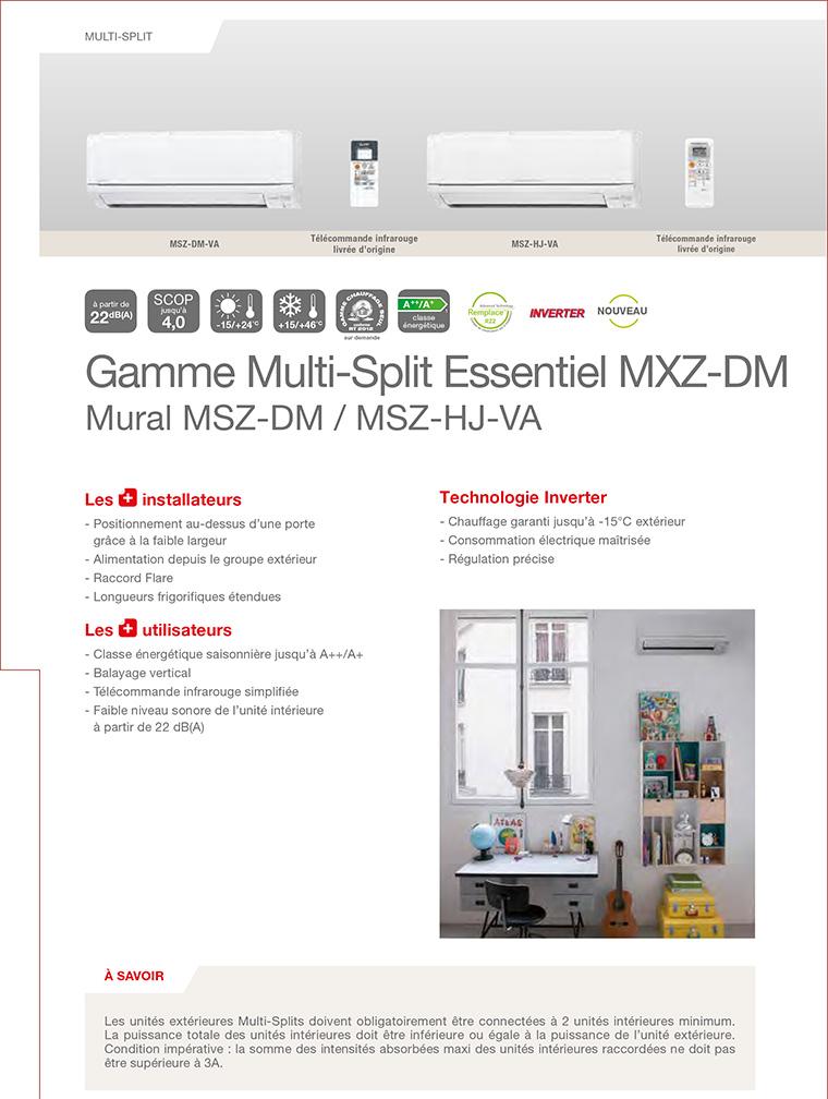 Caractéristiques MSZ-DM25VA et MSZ-DM35VA Mistubishi Electric