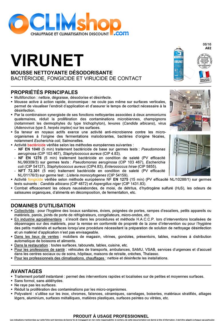 Fiche technique Virunet désinfectant climatisation