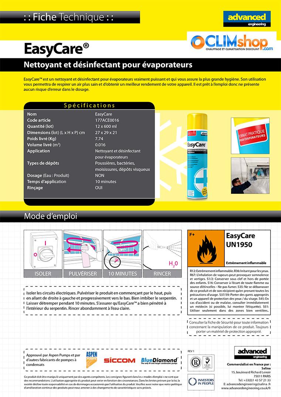Fiche technique Easycare 600 ml désinfectant climatisation
