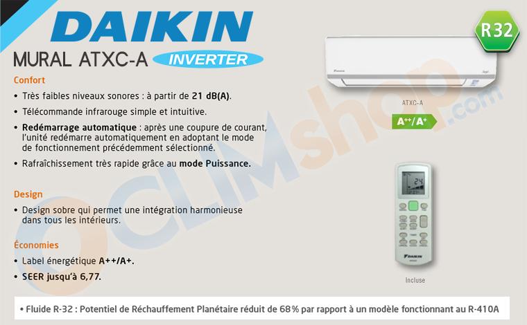 Présentation climatiseur Daikin R32 ATXC-35A